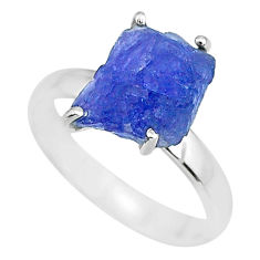 6.26cts natural blue tanzanite raw 925 silver solitaire ring size 8 r91762