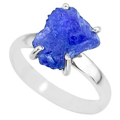 5.92cts natural blue tanzanite raw 925 silver solitaire ring size 8 r91767