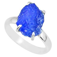6.15cts natural blue tanzanite raw 925 silver solitaire ring size 8 r91778