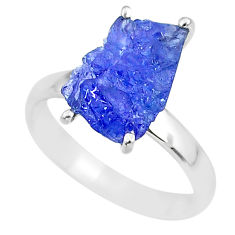5.15cts natural blue tanzanite raw 925 silver solitaire ring size 8 r91780