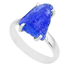 6.61cts natural blue tanzanite raw 925 silver solitaire ring size 8 r91781