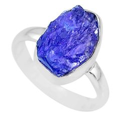 7.50cts natural blue tanzanite raw 925 silver solitaire ring size 8 r91802
