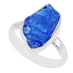 7.15cts natural blue tanzanite raw 925 silver solitaire ring size 8 r91808