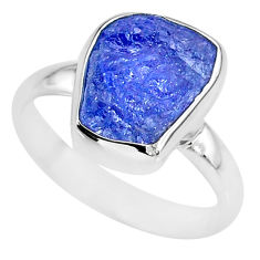 5.84cts natural blue tanzanite raw 925 silver solitaire ring size 8 r91832
