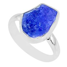 6.39cts natural blue tanzanite raw 925 silver solitaire ring size 8 r91838