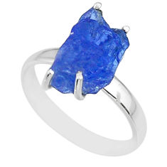 6.53cts natural blue tanzanite raw 925 silver solitaire ring size 9 r91783