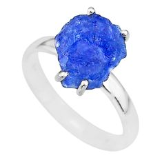 6.27cts natural blue tanzanite raw 925 silver solitaire ring size 9 r91799