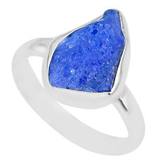 5.95cts natural blue tanzanite raw 925 silver solitaire ring size 9 r91816