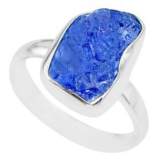 6.80cts natural blue tanzanite raw 925 silver solitaire ring size 9 r91819