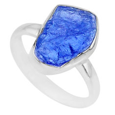 5.79cts natural blue tanzanite raw 925 silver solitaire ring size 9 r91837