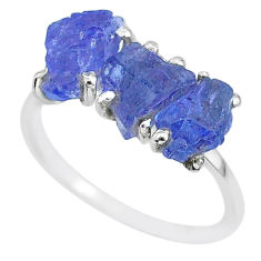 7.66cts natural blue tanzanite raw 925 sterling silver ring size 8.5 r91869