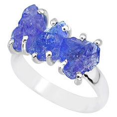 8.95cts natural blue tanzanite raw 925 sterling silver ring size 7 r91841