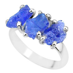 8.51cts natural blue tanzanite raw 925 sterling silver ring size 7 r91848