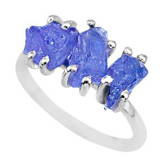 7.17cts natural blue tanzanite raw 925 sterling silver ring size 7 r91858