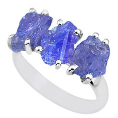 8.95cts natural blue tanzanite raw 925 sterling silver ring size 7 r91860