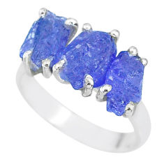 9.86cts natural blue tanzanite raw 925 sterling silver ring size 7 r91861
