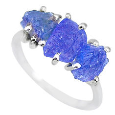 7.96cts natural blue tanzanite raw 925 sterling silver ring size 7 r91876