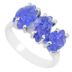 8.87cts natural blue tanzanite raw 925 sterling silver ring size 8 r91843