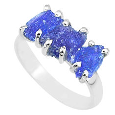 8.39cts natural blue tanzanite raw 925 sterling silver ring size 8 r91852
