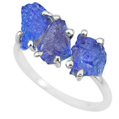 6.95cts natural blue tanzanite raw 925 sterling silver ring size 8 r91855