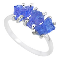7.17cts natural blue tanzanite raw 925 sterling silver ring size 8 r91863