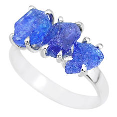 9.39cts natural blue tanzanite raw 925 sterling silver ring size 8 r91868