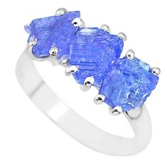 8.51cts natural blue tanzanite raw 925 sterling silver ring size 9 r91847
