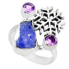 7.97cts natural blue tanzanite raw amethyst 925 silver ring size 6.5 r74021