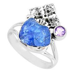 7.82cts natural blue tanzanite raw amethyst silver cross ring size 9 r74008