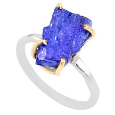7.21cts natural blue tanzanite raw fancy silver 14k gold ring size 8 t47130