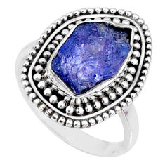 6.72cts natural blue tanzanite raw fancy silver solitaire ring size 7 r66731