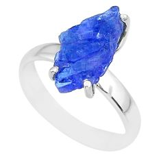 5.83cts natural blue tanzanite raw fancy silver solitaire ring size 7 r91784