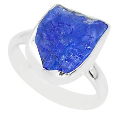 5.80cts natural blue tanzanite raw fancy silver solitaire ring size 7 r91824