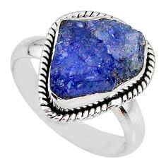 6.54cts natural blue tanzanite rough fancy silver solitaire ring size 8 r61795