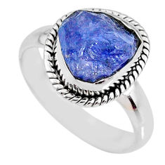 5.11cts natural blue tanzanite rough fancy silver solitaire ring size 8 r61813