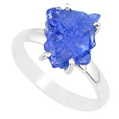 5.54cts natural blue tanzanite raw fancy silver solitaire ring size 8 r91769