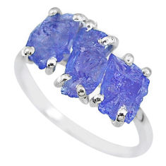 7.96cts natural blue tanzanite raw fancy sterling silver ring size 7 r91877