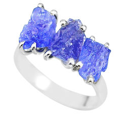 9.37cts natural blue tanzanite raw fancy sterling silver ring size 8 r91850
