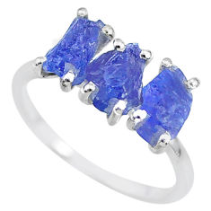 7.99cts natural blue tanzanite raw fancy sterling silver ring size 9 r91864