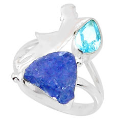 7.62cts natural blue tanzanite raw topaz 925 silver ring size 7.5 r74003