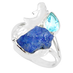 8.94cts natural blue tanzanite raw topaz 925 silver ring size 8.5 r74031