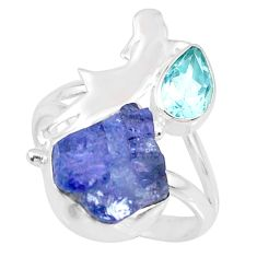 8.31cts natural blue tanzanite raw topaz 925 silver ring size 8 r74002
