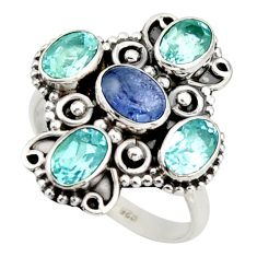 5.78cts natural blue tanzanite topaz 925 sterling silver ring size 8 d46186