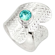 1.28cts natural blue topaz 925 silver adjustable solitaire ring size 5.5 d46443