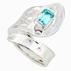 1.11cts natural blue topaz 925 silver adjustable solitaire ring size 8 d46423