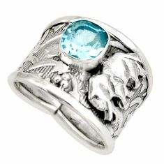 2.50cts natural blue topaz 925 silver elephant solitaire ring size 8.5 d45942