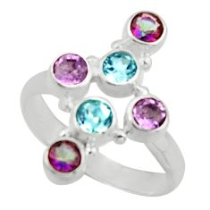 2.51cts natural blue topaz 925 silver holy cross ring size 8 d46541