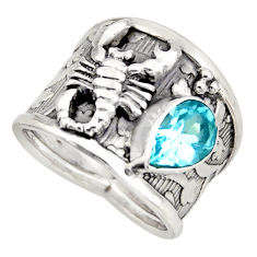 2.36cts natural blue topaz 925 silver scorpion solitaire ring size 6.5 d45941