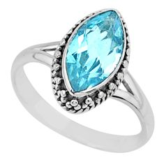 2.42cts natural blue topaz 925 silver solitaire ring jewelry size 6.5 r57500