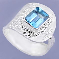 3.16cts natural blue topaz 925 sterling silver adjustable ring size 8.5 r54901